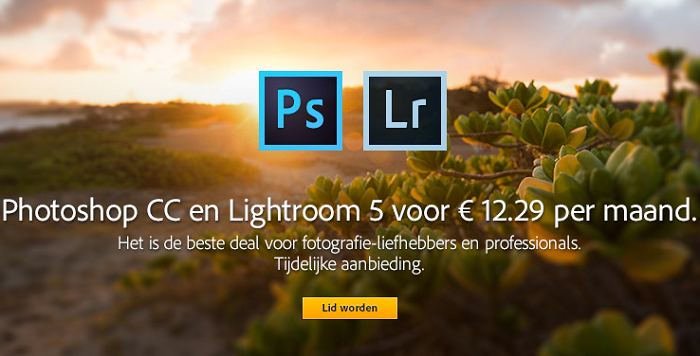 Adobe Photoshop + Lightroom aanbieding